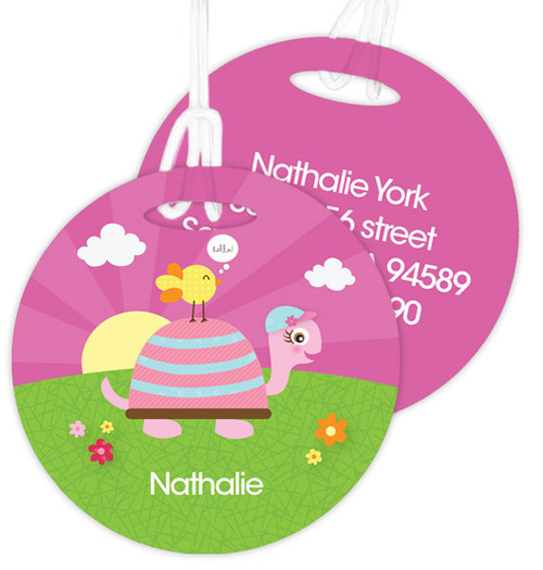 Turtle And Happy Bird Kids Luggage Tags