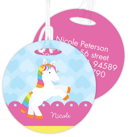 Cute Rainbow Pony Luggage Tags For Kids