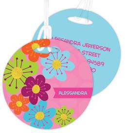 Shiny Bold Flowers Kids Bag Tags