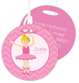 Sweet Blonde Ballerina Luggage Tags For Kids