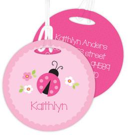 Sweet Pink Lady Bug Kids Luggage Tags
