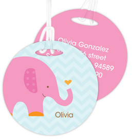 Sweet Pink Elephant Luggage Tags For Kids