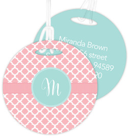 Pretty Pink Quatrefoil Luggage Tags For Kids