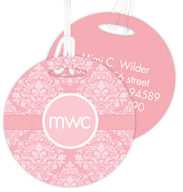 Pink Sweet Damask Luggage Tags For Kids