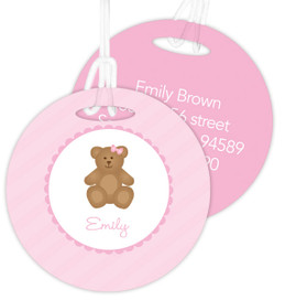 A Sweet Pink Teddy Bear Kids Bag Tags