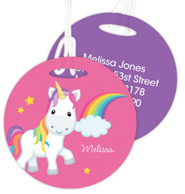 Rainbow Unicorn Kids Bag Tags