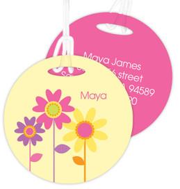 Three Spring Blooms Kids Bag Tags
