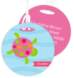 Swimming Pink Turtle Luggage Tags For Kids