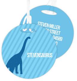 Dino And Me - Blue Luggage Tags For Kids