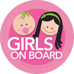 Black Hair Girls On Board Car Stickers by Spark & Spark