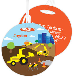 Construction Site Kids Bag Tags