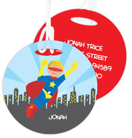 A Cool Blonde Superhero Luggage Tags For Kids