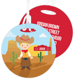 Blonde Cowboy Kids Luggage Tags