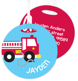 Cool Firetruck Luggage Tags For Kids