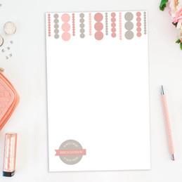 Luxe Circles Top Custom Notepad
