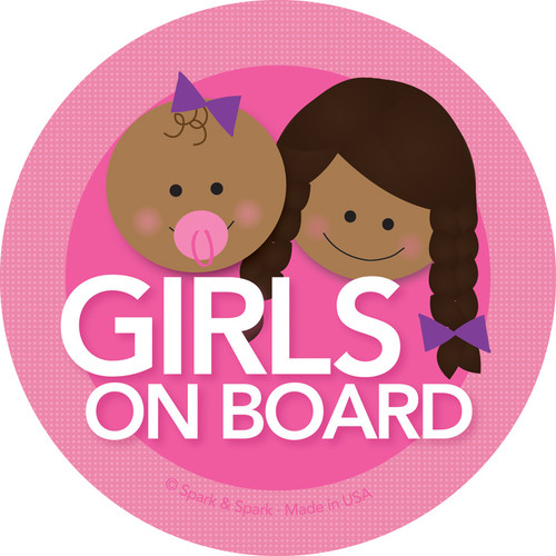 Baby on Board Decal w African American Girls | Spark & Spark