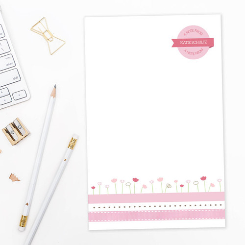 Check out our Personalized Note Pads   Ribbon and Flowers