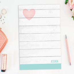 Rustic White Heart Custom Notepad