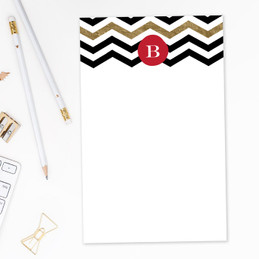 Original Modern Personalized Stationery | Black Chevron Gold Foil