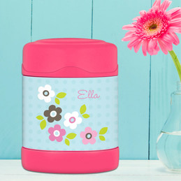 Blue preppy flowers personalized thermos food jar for kids