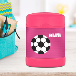 soccer fan ball personalized thermos food jar for kids