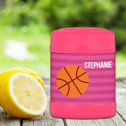 pink basketball fan personalized thermos food jar for kids