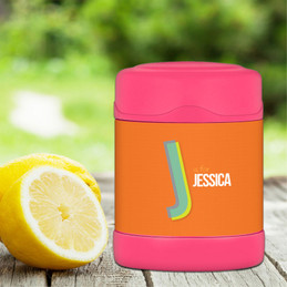 orange double initial personalized thermos food jar for kids