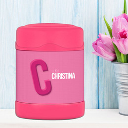 Double Initial Pink Thermos Food Jar