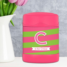 pink double initial and stripes personalized thermos food jar for kids