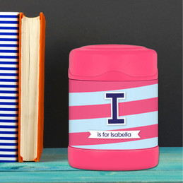 blue and pink double initial and stripes personalized thermos food jar for kids