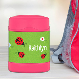 curious lady bug personalized thermos food jar for kids