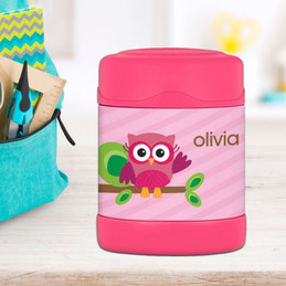 pink owl personalized thermos food jar for kids