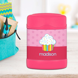rainbow cupcake personalized thermos food jar for kids