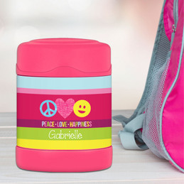 peace and love signs personalized thermos food jar for kids