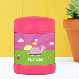 turtle and happy bird personalized thermos food jar for kids