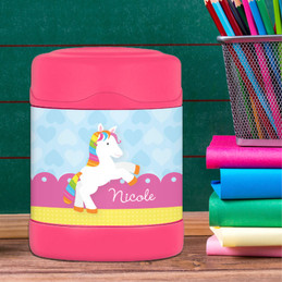 cute rainbow pony personalized thermos food jar for kids