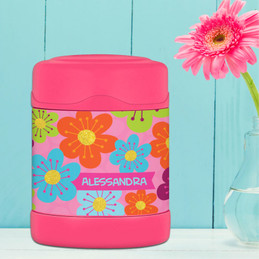 shiny bold flowers personalized thermos food jar for kids