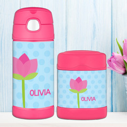 cute tulip personalized thermos food jar for kids