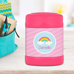 rainbow in the sky personalized thermos food jar for kids