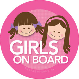 Cute Baby on Board Decal with Brunette Girls | Spark & Spark