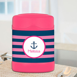 pink anchor sail personalized thermos food jar for kids