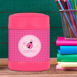 sweet pink lady bug personalized thermos food jar for kids
