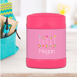 colorful arrows personalized thermos food jar for kids
