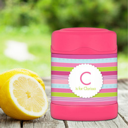 pastel stripes personalized thermos food jar for kids