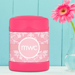 pink sweet damask personalized thermos food jar for kids