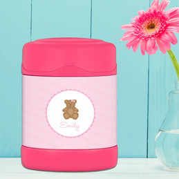 sweet teddy bear personalized thermos food jar for kids