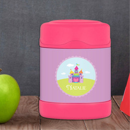 pretty heart castle personalized thermos food jar for kids