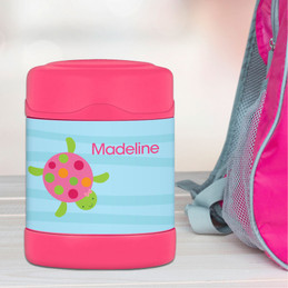 swimming pink turtle personalized thermos food jar for kids