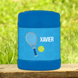 blue tennis fan racquet personalized thermos food jar for kids
