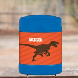 orange dinosaur personalized thermos food jar for kids